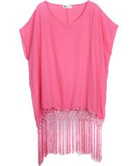 Lesara Kurzärmelige Tunika mit langen Saumfransen - Pink - S