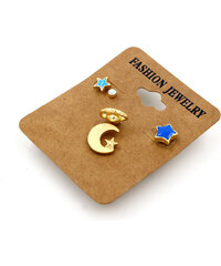 Lesara 5-teiliges Ohrstecker-Set Mond & Sterne - Blau