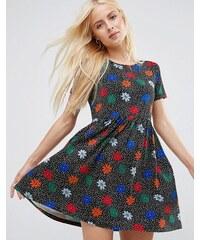 ASOS - Smock-Kleid mit Blumen und Punkten im 90er-Jahre-Look - Mehrfarbig