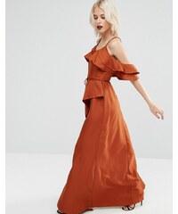 ASOS - Robe longue caraco avec épaules dénudées et volants - Orange