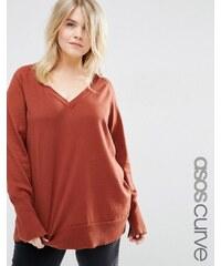 ASOS CURVE - Pullover mit V-Ausschnitt - Braun