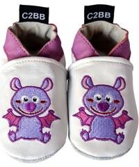 C2bb Chaussons bébé Chaussons de bébé cuir souple brodé   Chauve-souris