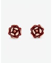 Ted Baker Ohrringe aus Emaille im Rosen-Design Ochsenblut