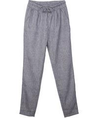 Lesara Mid Waist-Hose mit elastischem Bund - Grau meliert - 36
