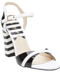 Cafe Noir Dámské kožené sandály na masivním podpatku