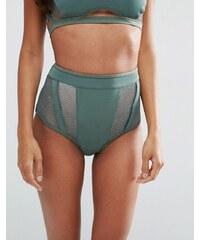ASOS - Bas de bikini en néoprène taille haute avec insert en résille - Vert