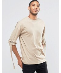 ASOS - T-shirt oversize manches 3/4 avec lanière - Beige
