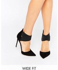 ASOS PEACHES - Chaussures pointues à talon pointure large, avec élastique - Noir