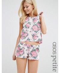 ASOS Petite ASOS - Schlafanzugset mit geblümtem Trägershirt und Shorts - Mehrfarbig