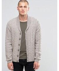 ASOS - Cardigan en laine mélangée à torsades et col châle - Beige