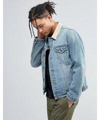 ASOS - Veste en jean coupe cintrée avec col contrastant imitation daim - Bleu - Bleu
