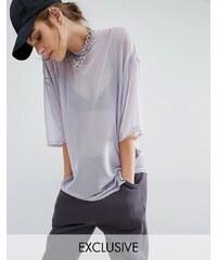 Bones - T-shirt droit oversize en tulle transparent - Violet