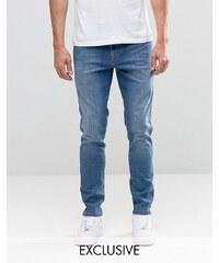 Brooklyn Supply Co - Dumbo - Jean skinny à délavage moyen contrasté - Bleu