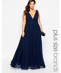 Forever Unique Plus - Maxi robe à décolleté plongeant - Bleu marine