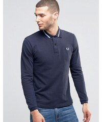 Fred Perry Laurel Wreath Long Sleeve Polo Shirt In Slim Fit - Bleu marine
