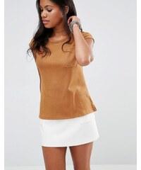 Glamorous - T-shirt en daim avec poche - Fauve