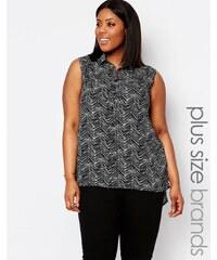 Koko Plus - Chemise sans manches à imprimé griffonné - Noir
