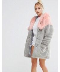 Lazy Oaf - Duffle-coat en fausse fourrure avec empiècements pastel et pompons - Multi
