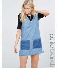 Liquor & Poker Petite - Robe en jean style patchwork - Bleu