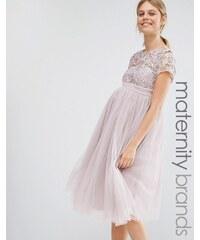 Little Mistress Maternity - Robe courte avec corsage en dentelle à manches courtes et jupe en tulle - Rose