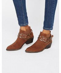 London Rebel - Bottines style western - Marron