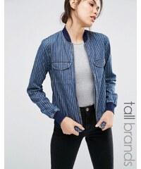 Noisy May Tall - Bomberjacke aus Jeans mit Nadelstreifen - Blau
