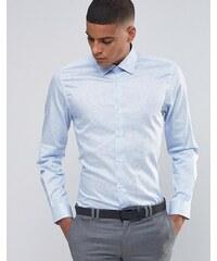 Number Eight Savile Row - Chemise à pois élégante coupe cintrée - Bleu