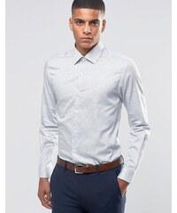 Number Eight Savile Row - Chemise à pois élégante coupe cintrée - Blanc