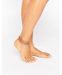 Pieces - Bracelet de cheville avec perle et disque - Doré