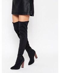 Truffle Collection - Overknee-Stiefel aus Neopren mit Kontrast-Absatz - Schwarz