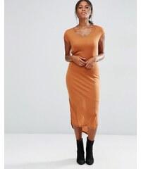 Vero Moda - Geripptes, kurzärmliges Jersey-Kleid - Orange