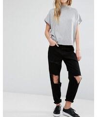 Waven Aki - Boyfriend-Jeans mit Zierrissen und ungesäumten Flicken - Schwarz