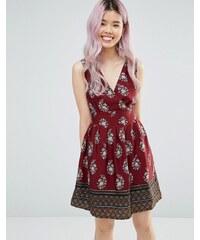 Yumi - Robe à bordures imprimées avec nœud dans le dos - Rouge