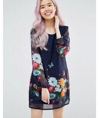 Yumi - Robe droite à manches longues avec imprimé à fleurs et papillons - Bleu marine