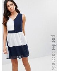 Yumi Petite - Robe color block avec liens dans le dos - Bleu marine