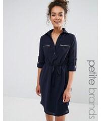 Yumi Petite - Robe chemise avec lien à la taille - Bleu marine