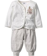 bpc bonprix collection Gilet bébé + pantalon (Ens. 2 pces.) en coton bio blanc manches longues enfant - bonprix