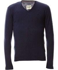 Wrangler Knit - Pull col V en laine et coton mélangés - bleu marine