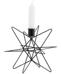 Madam Stoltz Kovový svícen Star black - 19cm