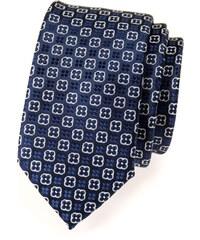 Avantgard Tmavě modrá slim květovaná kravata s bílým detailem_