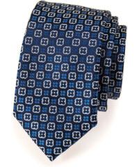 Avantgard Tmavě modrá slim květovaná luxusní kravata_
