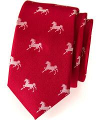 Avantgard Červená slim kravata se vzorem koně_