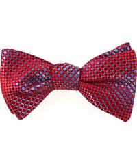 Avantgard Červený vázací motýlek s modrým detailem + kapesníček_