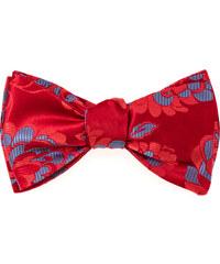 Avantgard Červený vázací motýlek s modrým květovaným vzorem + kapesníček_