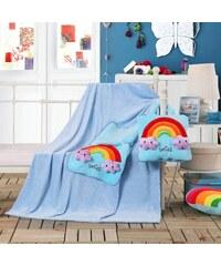 Dětská deka s polštářem TRAVEL RAINBOW 110x160 cm s povlakem 32x32 cm Mybesthome vzor duha