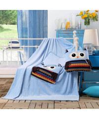 Dětská deka s polštářem TRAVEL OWL 110x160 cm s povlakem 32x32 cm Mybesthome vzor sova