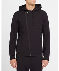 THE KOOPLES SPORT Schwarzes Sweatshirt aus Mesh mit Reißverschluss und Kapuze