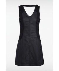 Robe femme unie avec col en V Noir Coton - Femme Taille L - Bonobo