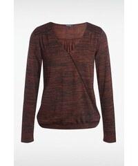 T shirt femme chiné contrasté Orange Polyester - Femme Taille L - Bonobo