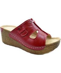 RB Pacut Dámské kožené červené pantofle 37